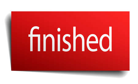 finished: finished red square isolated paper sign on white