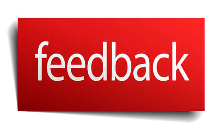 feedback button: feedback red paper sign on white background