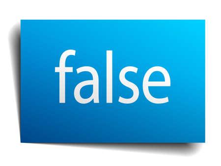 falso: falso signo de papel azul sobre fondo blanco