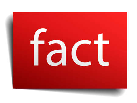 fact: fact red square isolated paper sign on white