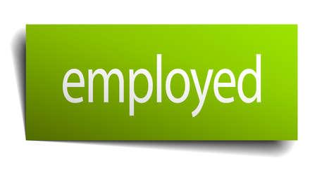 empleadas: empleada signo de papel verde aislado en blanco Vectores