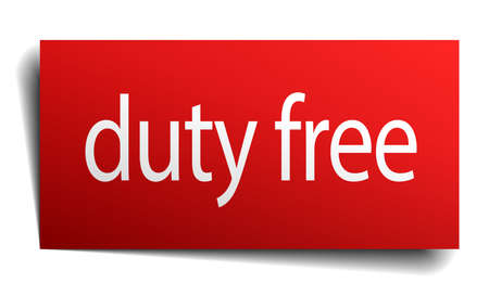 isolated paper: duty free red square isolated paper sign on white