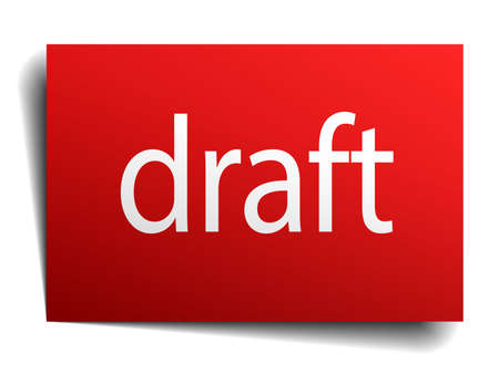 draft red square isolated paper sign on white