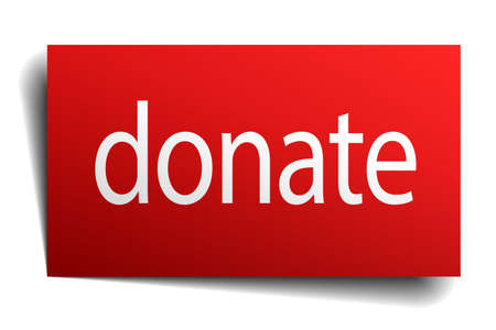 isolated paper: donate red square isolated paper sign on white