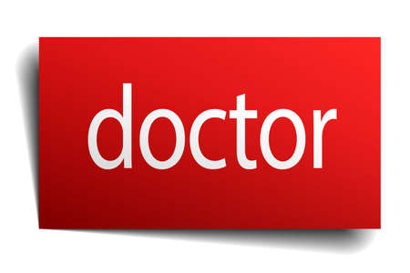 isolated paper: doctor red square isolated paper sign on white Illustration