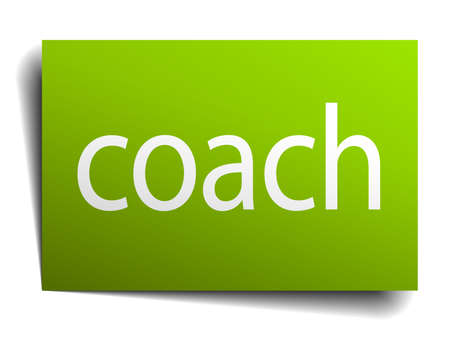green paper: coach green paper sign on white background Illustration