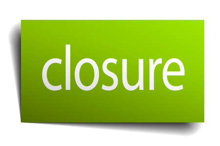 on white background: closure green paper sign on white background Illustration
