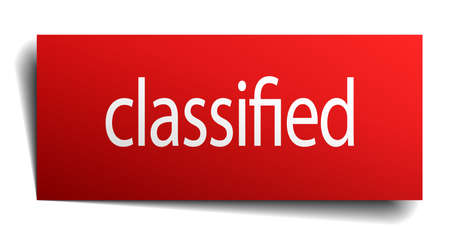 classified: classified red paper sign isolated on white