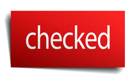checked: checked red paper sign isolated on white Illustration