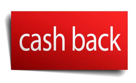 cash back: cash back red paper sign isolated on white Illustration