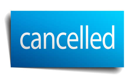 isolated paper: cancelled blue square isolated paper sign on white