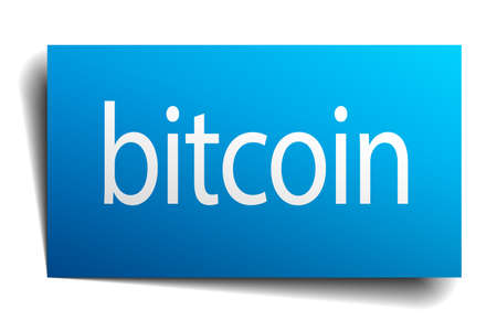 isolated paper: bitcoin blue square isolated paper sign on white