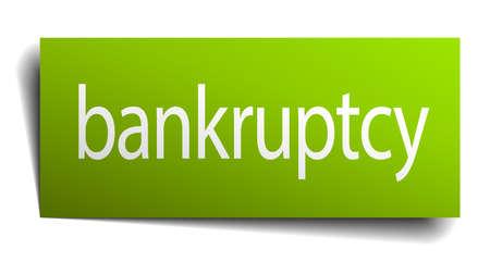faillite: faillite panneau vert de papier sur fond blanc