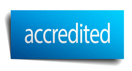accredited: accredited blue square isolated paper sign on white