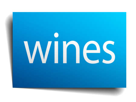 wines: wines blue paper sign isolated on white Illustration