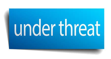 threat: under threat blue paper sign isolated on white