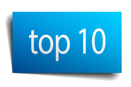 ten best: top 10 blue paper sign isolated on white Illustration