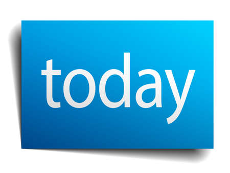 today: today blue paper sign isolated on white