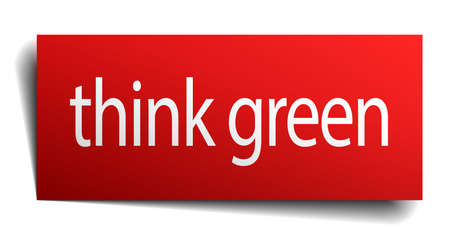 eco notice: think green red paper sign on white background