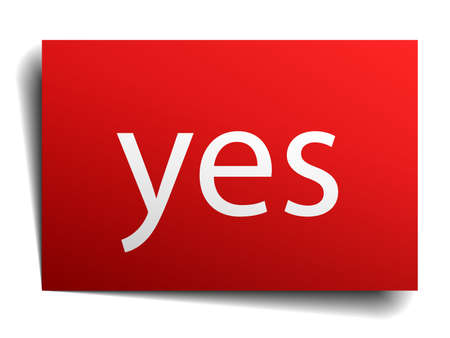isolated paper: yes red square isolated paper sign on white