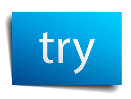 to try: try blue paper sign isolated on white Illustration