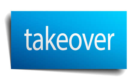 takeover: takeover blue paper sign isolated on white