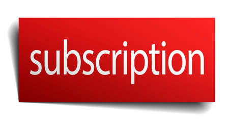 subscription: subscription red paper sign isolated on white Illustration