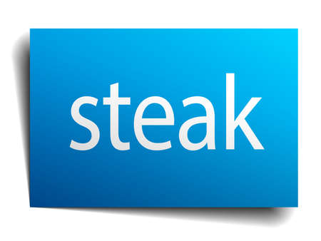 isolated paper: steak blue square isolated paper sign on white