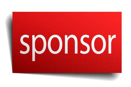 sponsor: sponsor red paper sign isolated on white