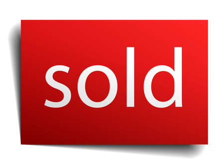 sold isolated: sold red paper sign isolated on white Illustration