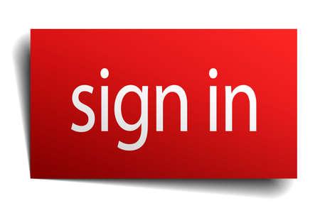 sign in: Zeichen in roten Papier Zeichen auf wei� isoliert