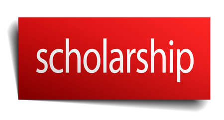 scholarship: scholarship red paper sign isolated on white