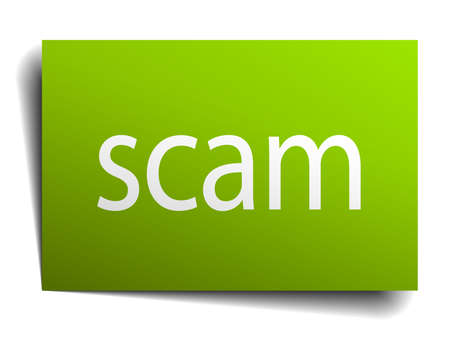 scam: scam square paper sign isolated on white