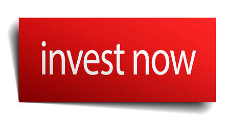 isolated paper: invest now red square isolated paper sign on white Illustration