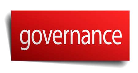 governance: governance red square isolated paper sign on white Illustration