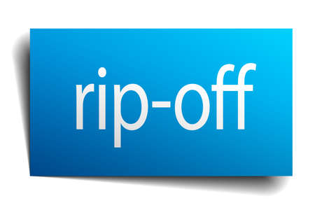 rip off: rip-off blue paper sign on white background