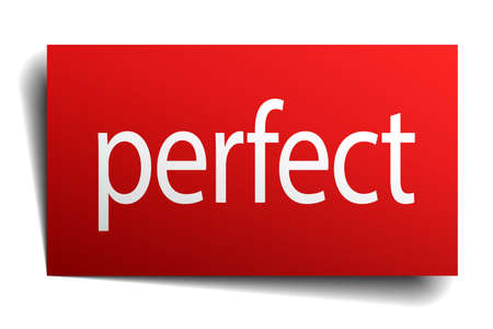 perfect: perfect red square isolated paper sign on white