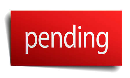 pending: pending red square isolated paper sign on white