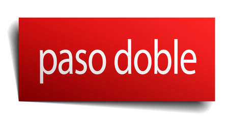 paso doble: paso doble red square isolated paper sign on white