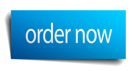 order now: order now blue paper sign on white background