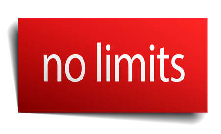 isolated paper: no limits red square isolated paper sign on white