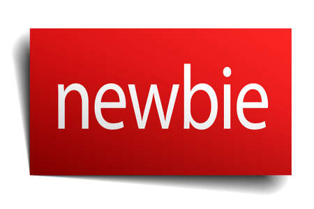 newbie: newbie red square isolated paper sign on white