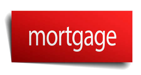 isolated paper: mortgage red square isolated paper sign on white