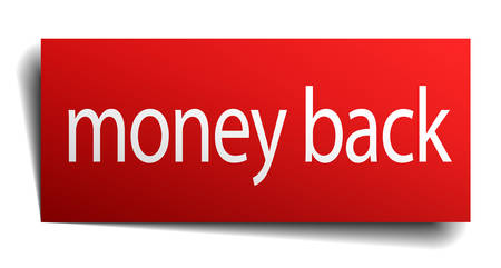 isolated paper: money back red square isolated paper sign on white