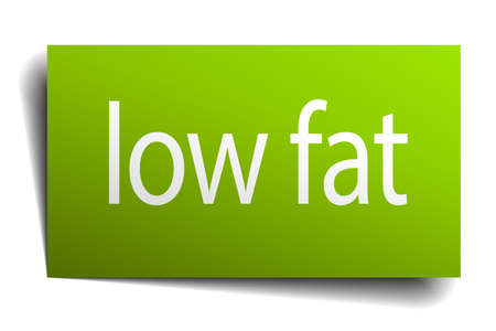 low fat: low fat green paper sign on white background