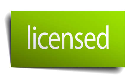 licensed: licensed green paper sign on white background