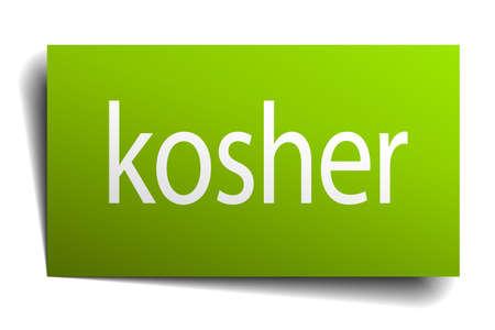 kosher: kosher green paper sign isolated on white