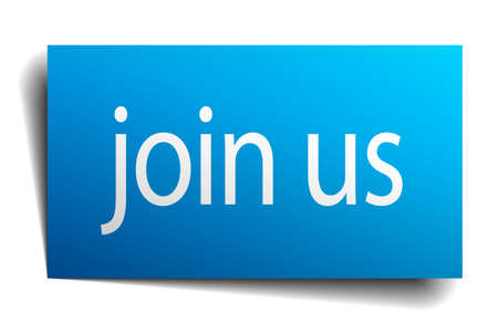join us: join us blue paper sign on white background