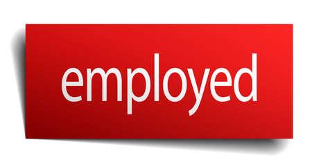 empleadas: empleada cuadrado rojo aislado papel cartel en blanco