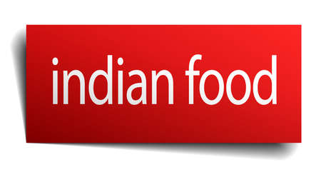 indian food: indian food red square isolated paper sign on white Illustration